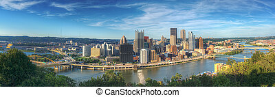 Panorama of downtown Pittsburgh, Pennsylvania, USA at Allegheny River.