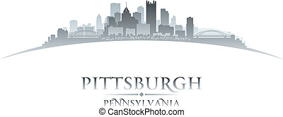 Pittsburgh Pennsylvania city skyline silhouette. Vector ...