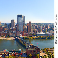 Pittsburgh Pennsylvania USA, skyline panorama of business buildings and banks in the financial downtown district on a beautiful sunny day with blue sky