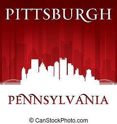 pittsburgh, pensilvania, perfil de ciudad, silueta, fondo rojo