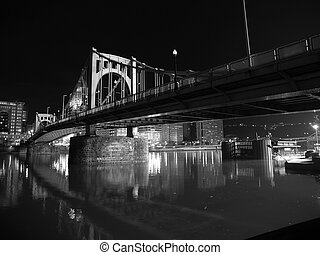 pittsburgh, ponte, notte