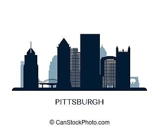 Pittsburgh skyline, monochrome silhouette.