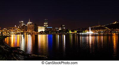 Pittsburgh skyline panorama at night