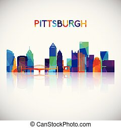 Pittsburgh skyline silhouette in colorful geometric style.