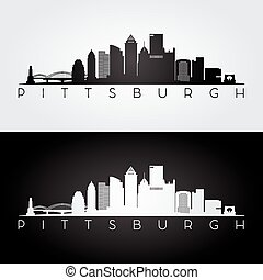 Pittsburgh skyline silhouette - Pittsburgh USA skyline and ...