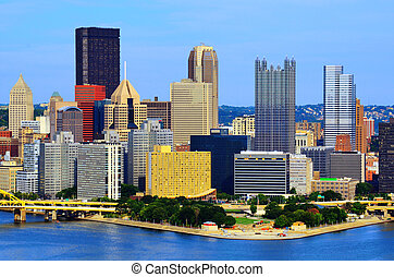 Pittsburgh Skyline - Skyscrapers in downtown PIttsburgh,...