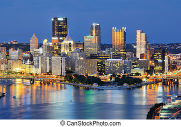 Pittsburgh Skyline - Skyline of downtown Pittsburgh,...