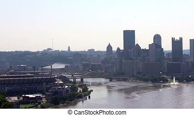 Pittsburgh skyline time lapse - Pittsburgh clip of highway...