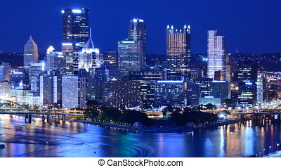 Pittsburgh Time Lapse - Time lapse of the skyline of...