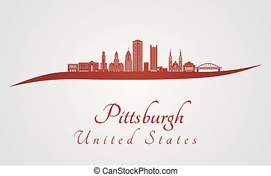 Pittsburgh V2 skyline in red