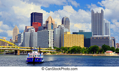 Pittsburgh Waterfront - Skyscrapers in downtown at the...