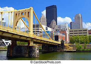 Pittsburgh Waterfront - Skyscrapers in downtown at the ...