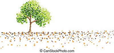 pittura, albero, puntino, fondo, suolo