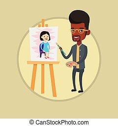 pittura, artista, portrait., creativo, africano