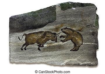 pittura, caverna, mercati, orso, toro