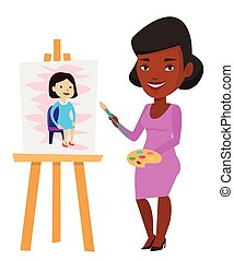 pittura, creativo, portrait., femmina, artista
