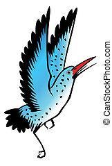 pittura, di, uccello