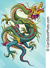 pittura, drago cinese