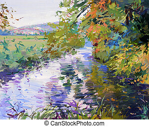 pittura, paesaggio, cadere