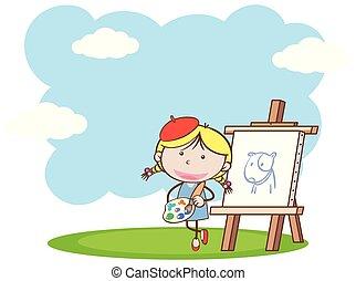 pittura, ragazza, parco