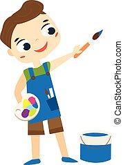 pittura, ragazzo, cartone animato, brush., artista, capretto