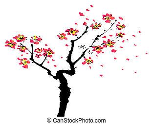 pittura, sakura, cinese