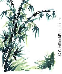 pittura, spazzola, cinese, bamboo.