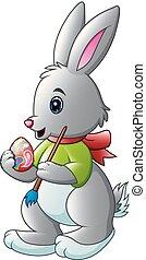 pittura, spazzola, coniglio, uovo, cartone animato, pasqua