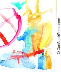 pittura, watercolour