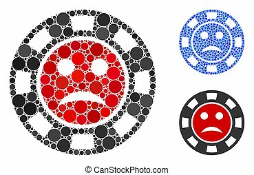 Pity casino chip mosaic of round dots in different sizes and color hues, based on pity casino chip icon. Vector round dots are combined into blue mosaic.