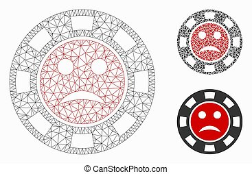 Mesh pity casino chip model with triangle mosaic icon. Wire carcass polygonal mesh of pity casino chip. Vector mosaic of triangle elements in different sizes, and color shades.