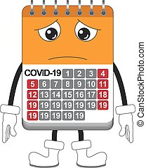 Pity covid-19 calendar man isolated over white background
