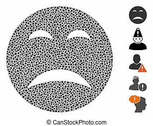 Pity smiley icon composition of uneven pieces in various sizes and shades, based on pity smiley icon. Vector ragged pieces are grouped into composition. Pity smiley icons collage with dotted pattern.