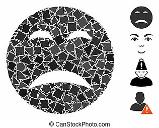 Pity smiley icon mosaic of bumpy items in different sizes and color tints, based on pity smiley icon. Vector bumpy dots are combined into collage. Pity smiley icons collage with dotted pattern.