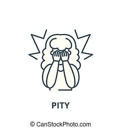 Pity vector line icon, outline concept, linear sign