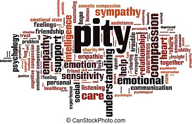 Pity word cloud concept. Vector illustration