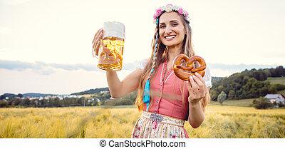 pivo, manželka, bavorák, tradiční, strava, léto, šťastný