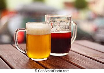 pivo, ve volné přírodě, -, terasa, dva, dřevěný, restaurace...