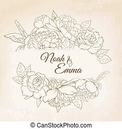 pivoine, rose, cadre, gabarit, mariage, floral, carte