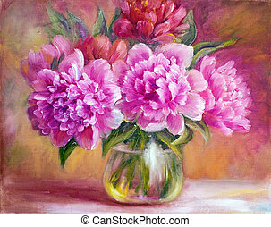 pivoines, vase, toile, peinture huile