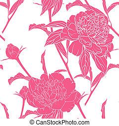 pivoines, vendange, floral, seamless, modèle