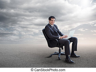 pivot, homme affaires, chaise, séance, beau