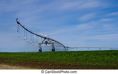 Pivot irrigation system operating with water
