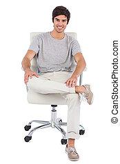 pivot, sourire, chaise, séance homme