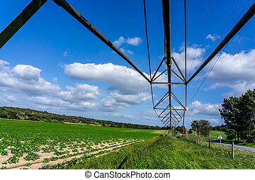 Pivot water system in an agricultural field, agriculture irrigation machine. bottom view.