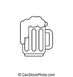 piwo, ikona, kreska, cienki