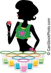 piwo, ilustracja, ciemny, jarzący się, dziewczyna, pong