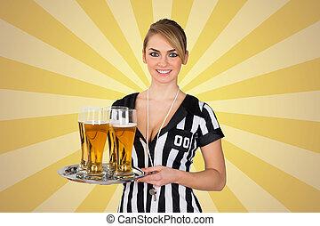 piwo, sędzia, taca, dzierżawa, samica