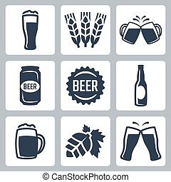 piwo, wektor, komplet, powinowaty, ikony