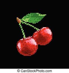 Pixe Art Illustration - Game Fruit Vector